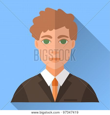 Wedding Day Bridegroom, Blue Square Flat Icon With Shadow