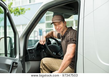 Delivery Man Driving Van