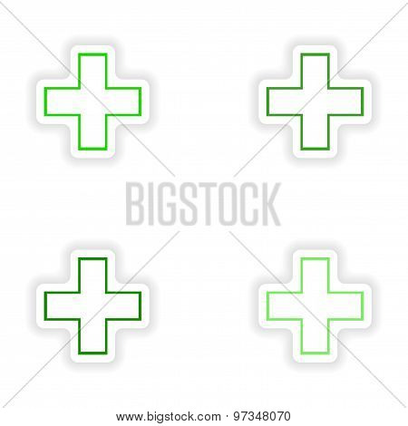assembly realistic sticker design on paper medical cross