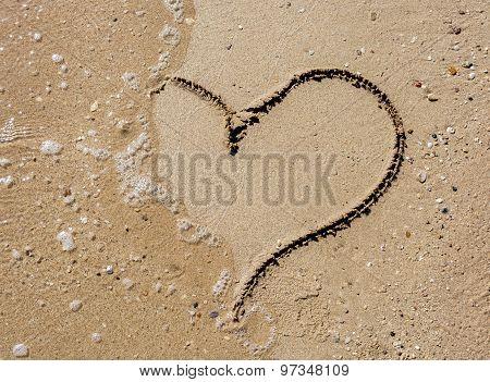 Hearth Symbol On The Sand Beach On A Sunny Day