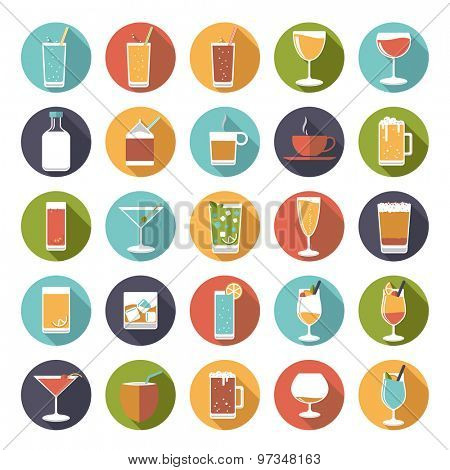 Circular drinks and beverages icons vector set. Collection of 25 flat design drink and beverage vector icons in circles.