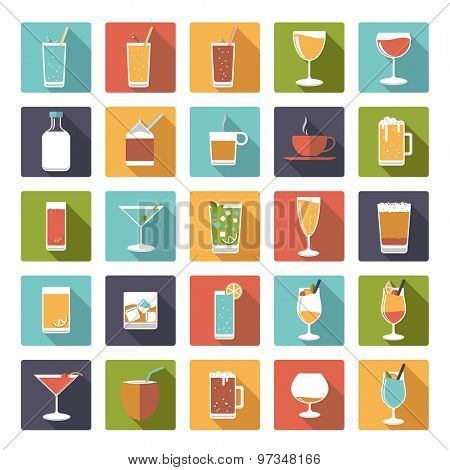 Square drinks and beverages icons vector set. Collection of 25 flat design drink and beverage vector icons in square shape with rounded corners.