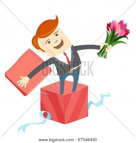 Man in big gift box with bunch of flowers