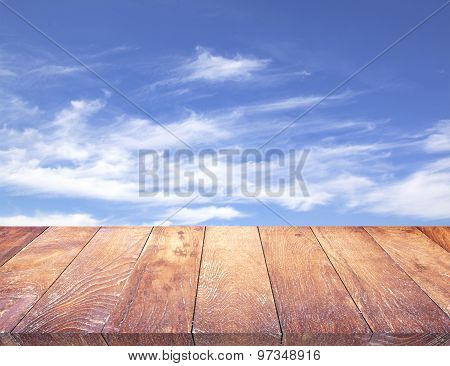 Wood Table Top On & Sky Background