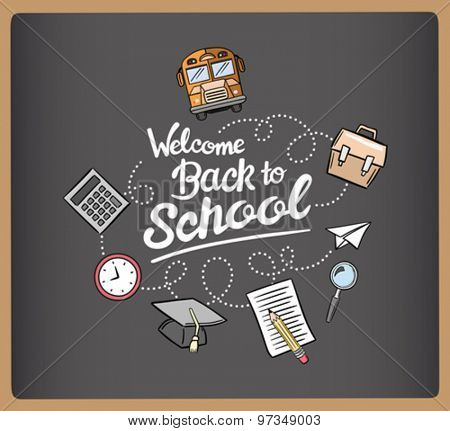 Welcome back to school message surrounded by icons vector on chalkboard