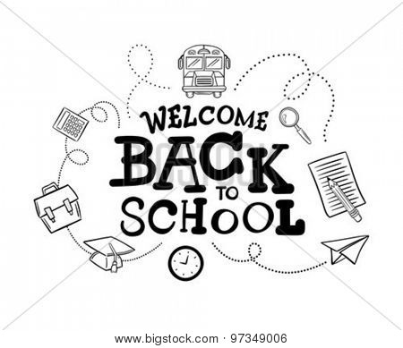 Hand drawn welcome back to school message surrounded by icons vector