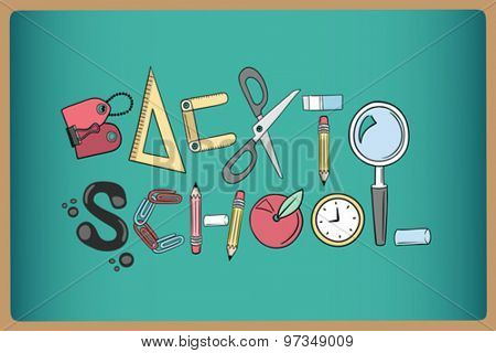 Back to school written with school utensils vector on green chalkboard
