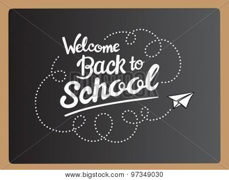 Welcome back to school message with paper plane icon vector on grey chalkboard