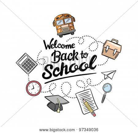 Coloured welcome back to school message surrounded by icons vector against white background