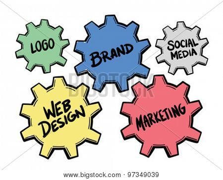 Coloured promotional icons concept vector against white background