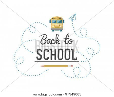 Back to school message surrounded by icons vector against white background