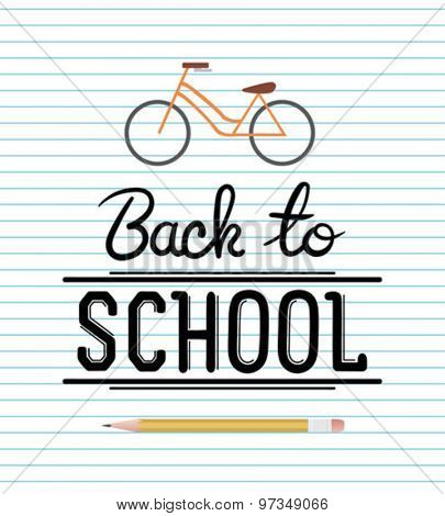 Back to school message with icons vector against notepad background