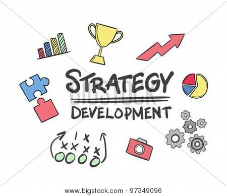 Strategy development vector against white background