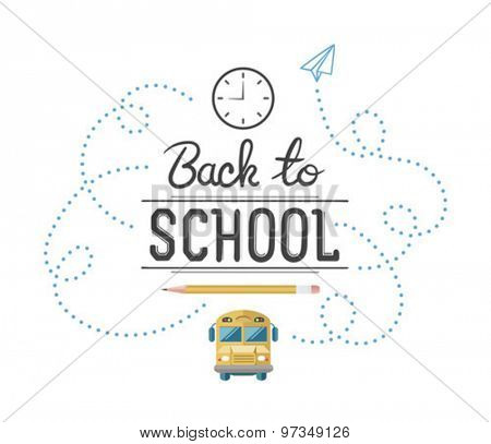 Back to school message with education icons vector against white background