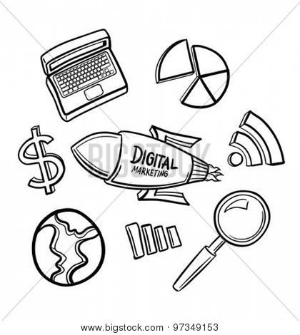 Digitally generated Marketing icons hand drawn vector