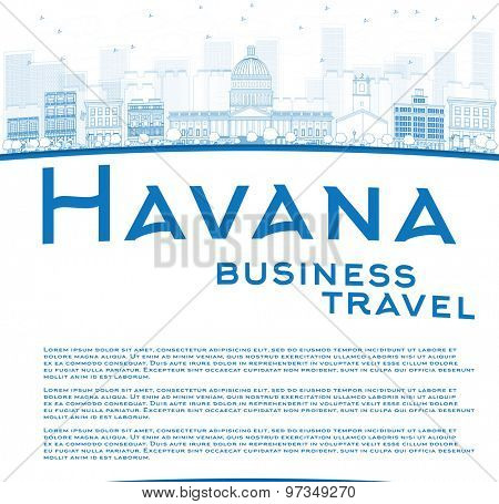 Outline Havana Skyline with Blue Building and copy space. Business travel concept. Vector Illustration