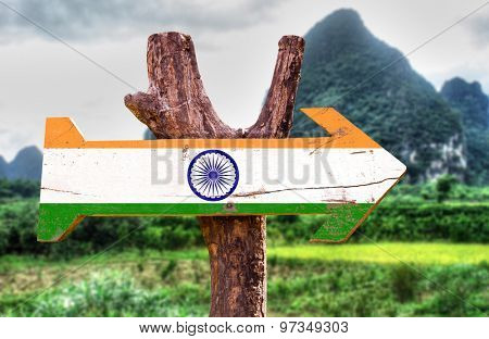 India flag wooden sign with rural background