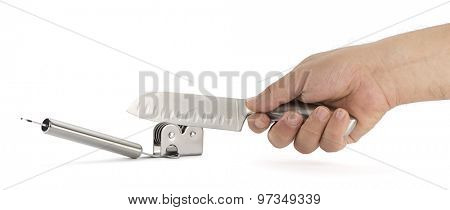 Male Hand Sharpening