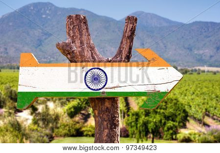 India flag wooden sign with mountain background