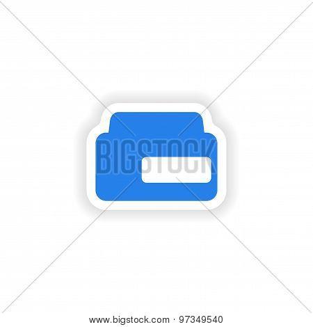 icon sticker realistic design on paper Bank cream