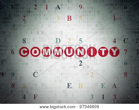 Social media concept: Community on Digital Paper background