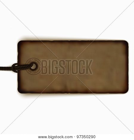 Blank Vector Vintage Price Tag, Realistic Label, Badge, Banner Isolated On White