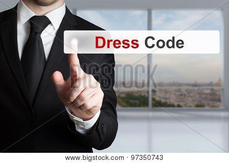 Businessman Pushing Button Dress Code