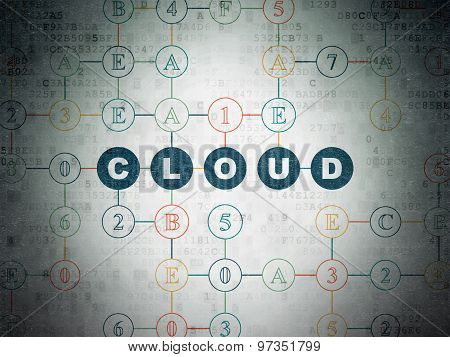 Cloud networking concept: Cloud on Digital Paper background