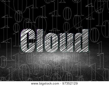 Cloud networking concept: Cloud in grunge dark room
