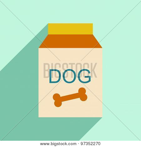 Flat with shadow icon and mobile application dog food