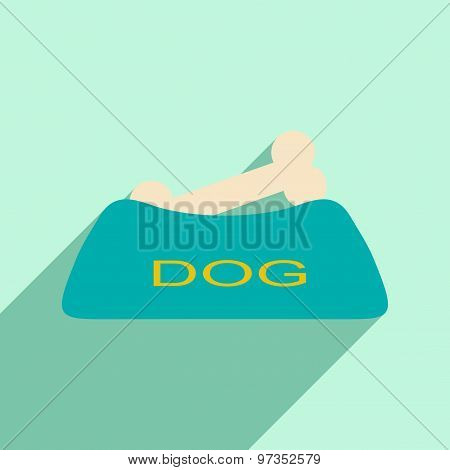 Flat with shadow icon and mobile application dog bowl