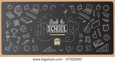 Chalk drawn back to school icons vector on chalkboard