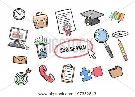 Digitally generated Job search concept vector