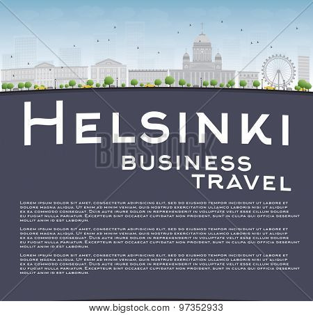 Helsinki skyline and copy space. Business travel concept. Vector Illustration