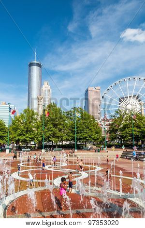 Children Play At Centennial Olympic Park