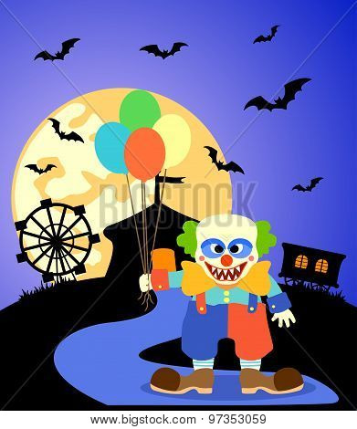 Halloween Background With Clown