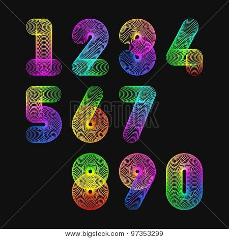 Colorful springs numbers. Vector.