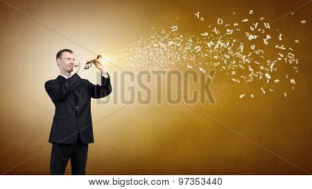 Businessman playing flute