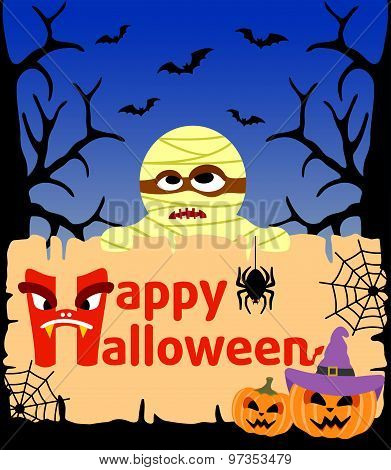 Halloween background with Mummy vector