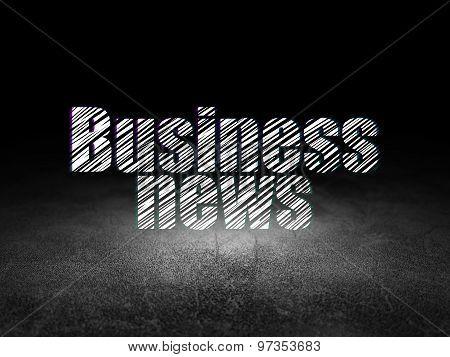 News concept: Business News in grunge dark room