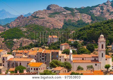 Small Corsican Village Landscape, Old Piana