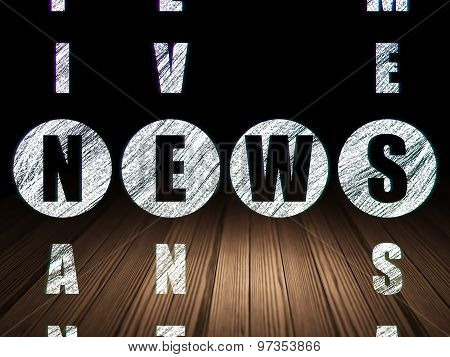News concept: word News in solving Crossword Puzzle