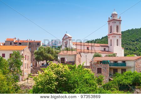 Small Corsican Town Landscape, Piana In Summer