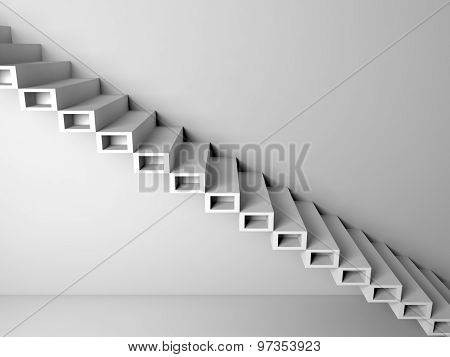 Cantilevered Stairs Construction On Wall, 3D