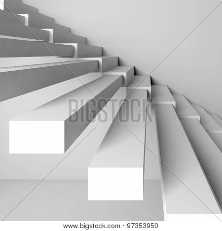 Abstract Architecture Background, White 3D Stairs