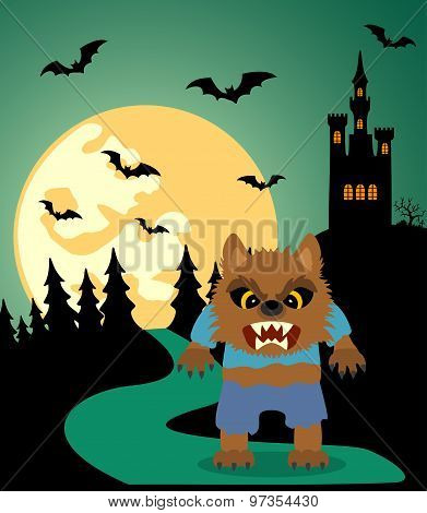 Halloween Background With Werewolf