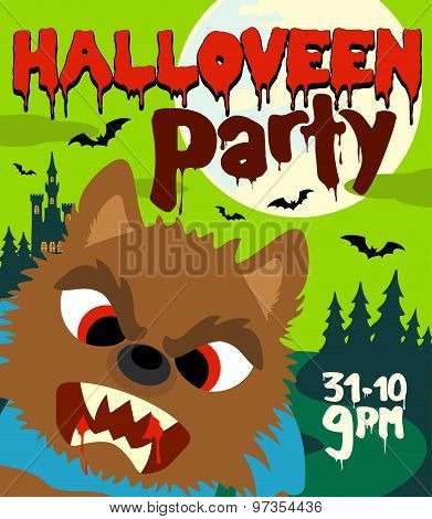 Halloween party background with werewolf