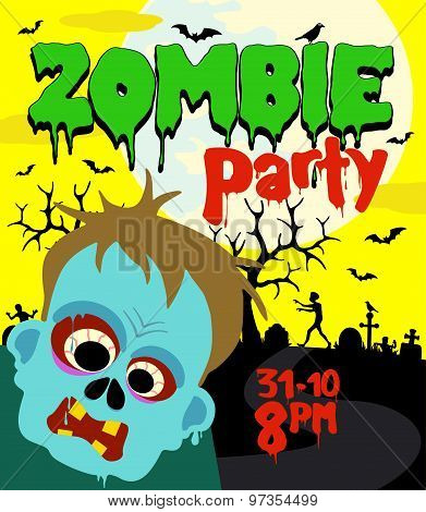 Halloween party background with zombie