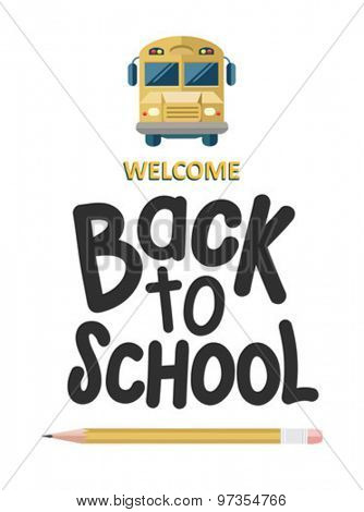 Welcome back to school message with icons vector against white background