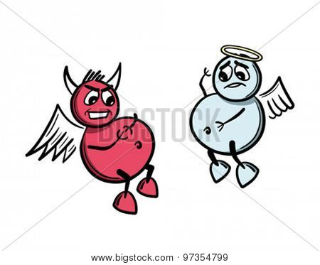 Digitally generated Good versus evil concept vector